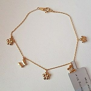 "Butterfly Flower Gold plated 7"" Bracelet"
